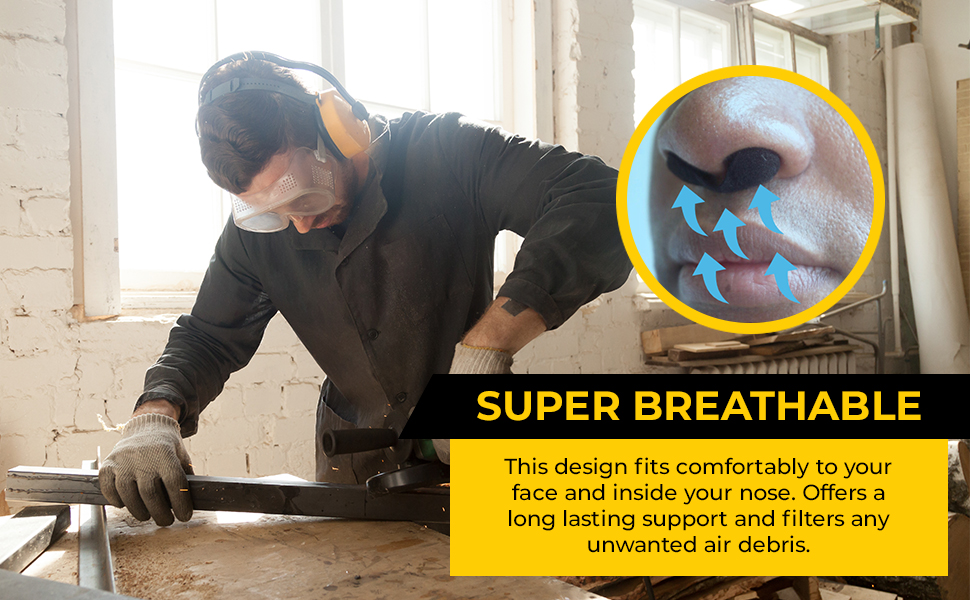 ultra-fine dust sawdust sheetrock smoke perfect material made expands adapts shape nostrils sealing
