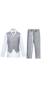 Toddler Suit for Boys Tuxedo Suit for Wedding Gray Kids Vest and Pants Sets Dress Outfit