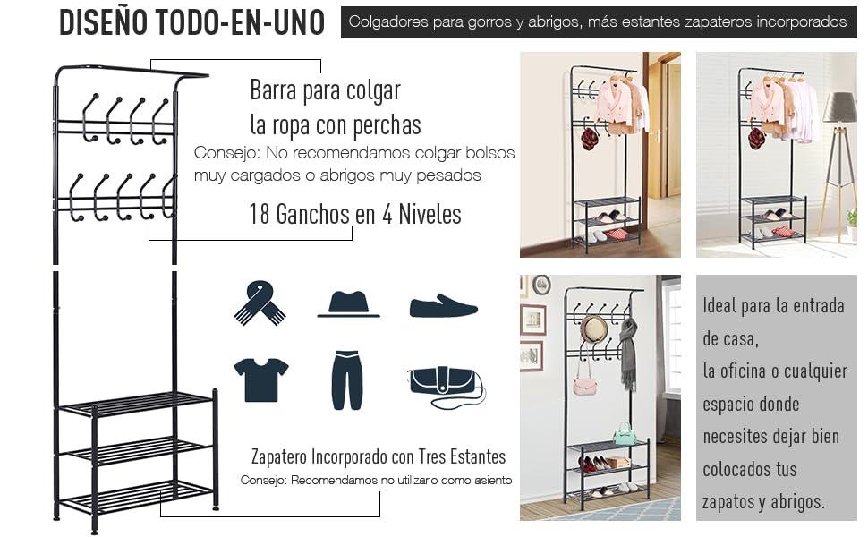 HOMCOM Perchero Colgador Met/álico Zapatero para Ropa y Zapatos Perchero Pie 18 Ganchos 3 Estantes 67x30x185cm