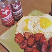 Adoboloco Jalapeno Hot Sauce with Portuguese Sausage Eggs and Rice