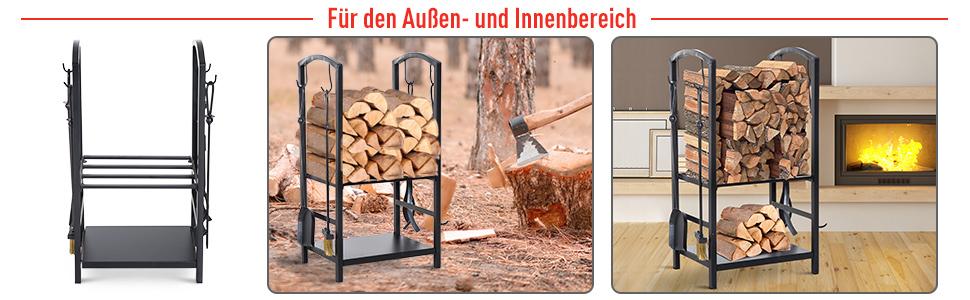Outsunny Kaminholzständer Brennholzregal Feuerholzablage 2 Schichte Kaminwerkzeug