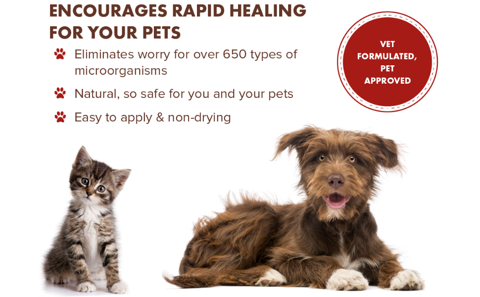 PetSilver rapid wound healing for pets, natural, non-drying, chelated silver, wound care for animals