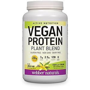 webber naturals vegan vanilla protein powder, 23 g of protein per serving