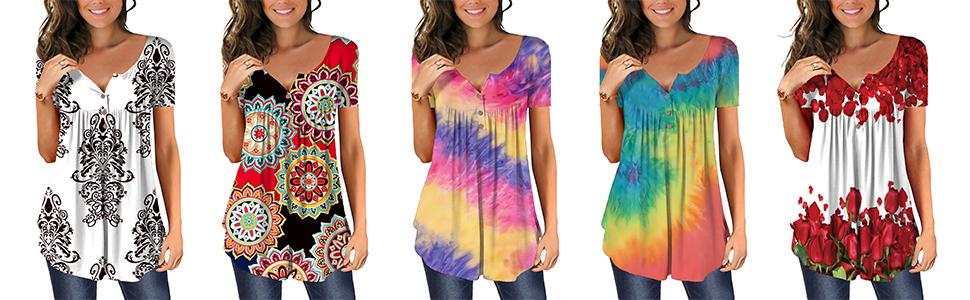womens casual t shirt summer blouse short sleeve button down top falre tunics floral top women