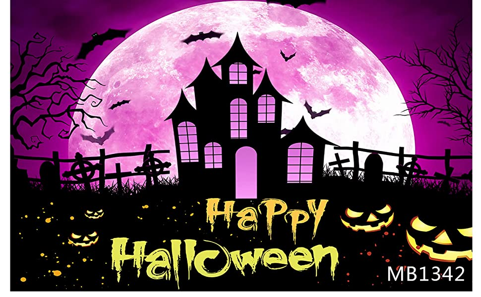 6X8FT-Halloween Thriller Room Photography Backdrops Purple Lighting Studio Photo Background