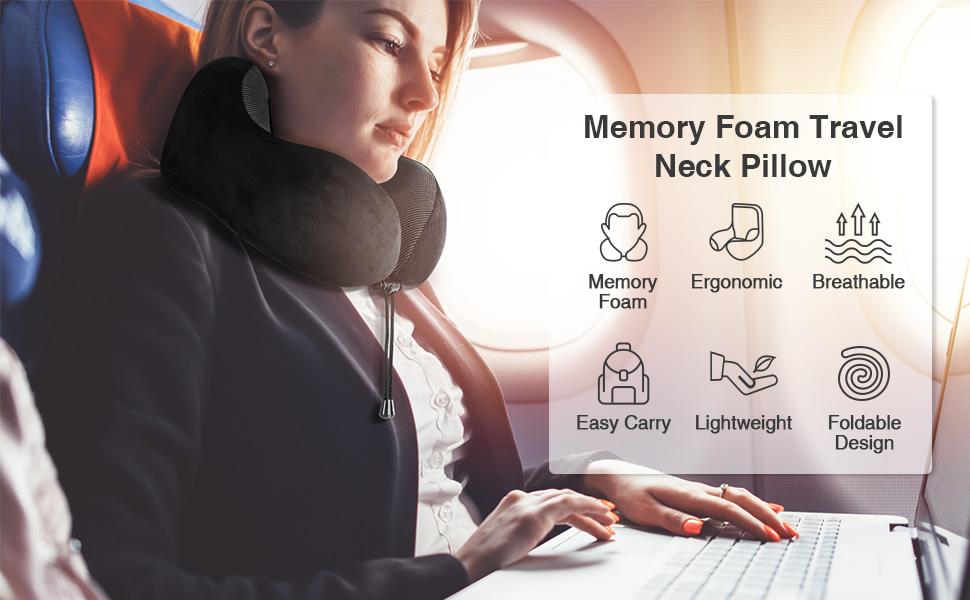 HOMIEE Travel Pillow, Memory Foam Neck