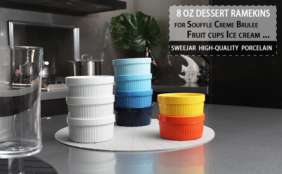 Souffle Ramekins Porzellangeschirr 240ml Gepr/ägte Souffle Creme Brulee zum Backen und Dips Gradient-Farben-Glasur Ring Muster Baking Bowl,6pcs
