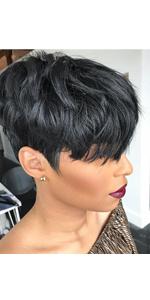 short black human hair wigs short straight human hair wigs pixie cut wigs for black women bangs wig