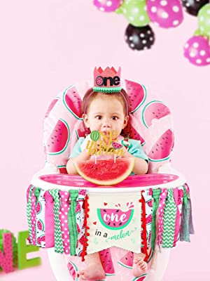 Watermelon Party Decorations One in a melon cake topper one in a melon party Watermelon High Chair Banner