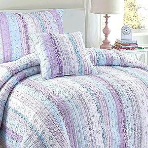 Amazon Com Cozy Line Home Fashions Raelynn Lavender Lace Orchid Light Purple Blue Flower Print Stripe Cotton 3d Bedding Quilt Set Reversible Coverlet Bedspread For Girls Women Queen 3 Piece Kitchen