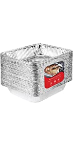 8x8 Foil Pans with Lids (10 Count) 8 Inch Square Aluminum Pans with Covers - Foil Pans and Foil Lids