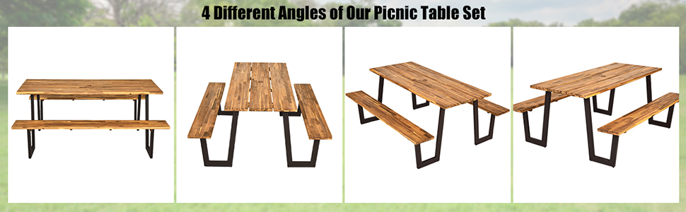 four different angles of Our Picinic Table set
