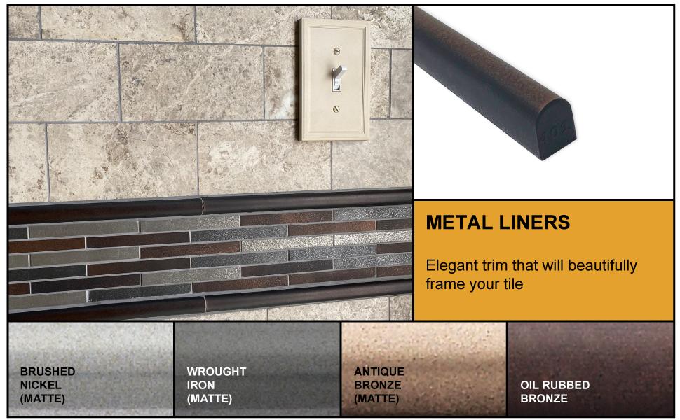 Tile Trim 1 2 X 12 Inch Soho Listel Low Pencil Shower Ceramic Tile Edge Backsplash Liner Wall Molding Wrought Iron Metal Finish 6 Pack