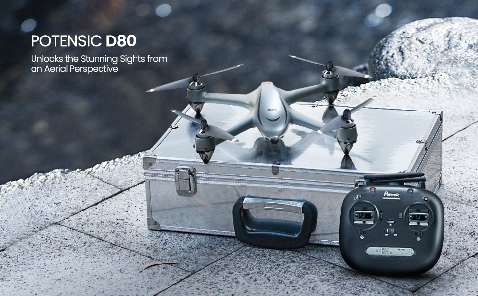 POTENSIC D80 DRONE WITH CAMERA  Potensic D80 GPS Drone with Camera for Adults, 2K FHD Camera, 2 Batteries 40 Mins Quadcopter with Brushless Motor, Auto Return Home, Follow Me, Long Control Range, Includes A Carrying Case-Sliver 713f538c 7a52 4e4f 9e74 95c99d4e4f8c
