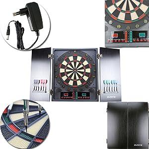 HENGMEI Elektronische Dartscheibe Dartspiel Dartautomat Dartboard mit 6//12 Dartpfeilen Spielen und Varianten