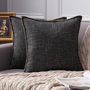farmhouse linen pillow covers black vintage retro rustic