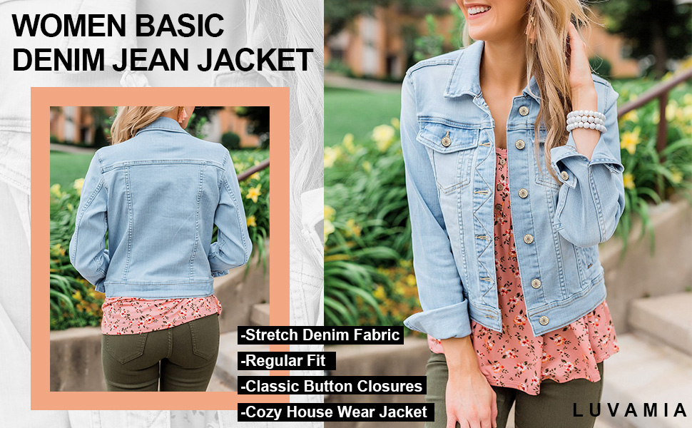 Women's Basic Button Down Stretch Fitted Long Sleeves Denim Jean Jacket
