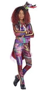 celia costume, descendants 3, colorful jacket and leggings with accessories, vibrant patterns