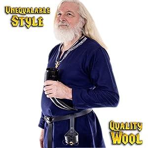 Mythrojan EMBROIDERED WOOLEN VIKING TUNIC Medieval Vikings Warrior LARP SCA Wool Knight  tunic shirt