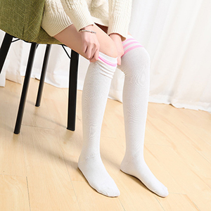 Durio Girl Casual Thigh High Socks Knitted Thick Kids Over the Knee Socks Stripes Thigh Highs Knee High Sock for Girls