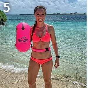 The New Wave Swim Bubble emergency floatation device triathlon bag swimming safety buoy
