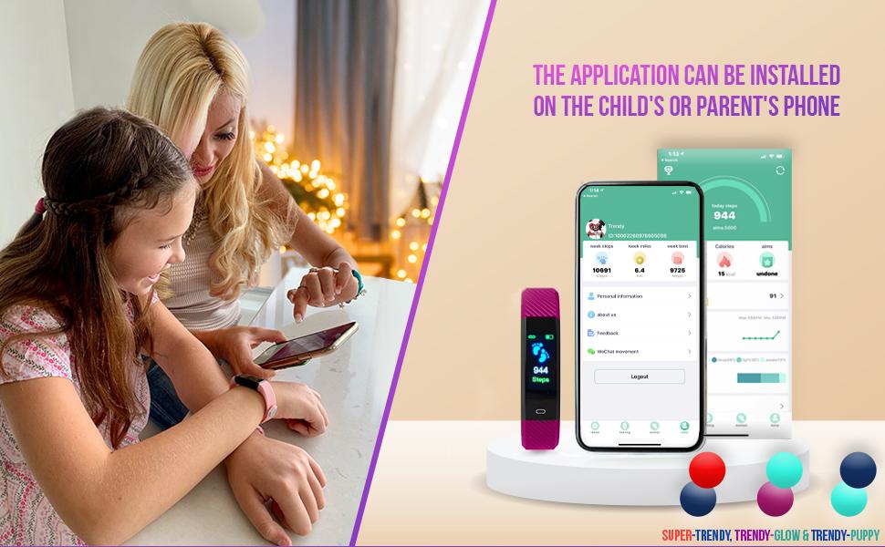 Fitness Tracker Watch Kids Girl Boy Teen Activity Tracker Pedometer Heart Rate Sleep Waterproof Step