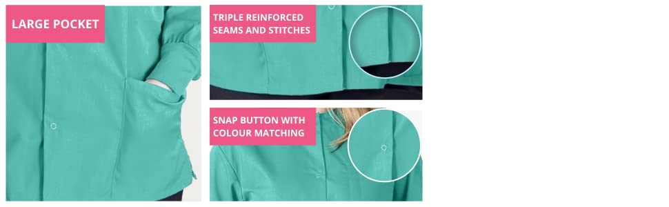 Color matching long sleeve scrubs jackets for women