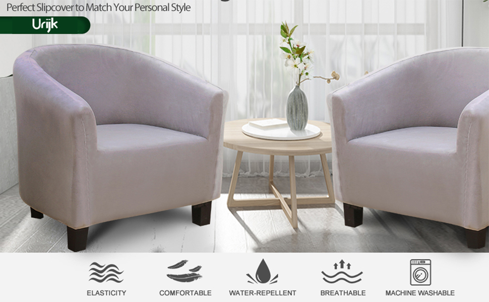 Stretch Armchair Cover for Living Room Urijk Tub Chair Covers for Armchairs Thickening Arm Chair Cover for Bar Counter Living Room Reception Club Chair Slipcover