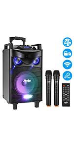 Moukey Karaoke Machine,650W Peak Power Wireless Connection Karaoke Speaker