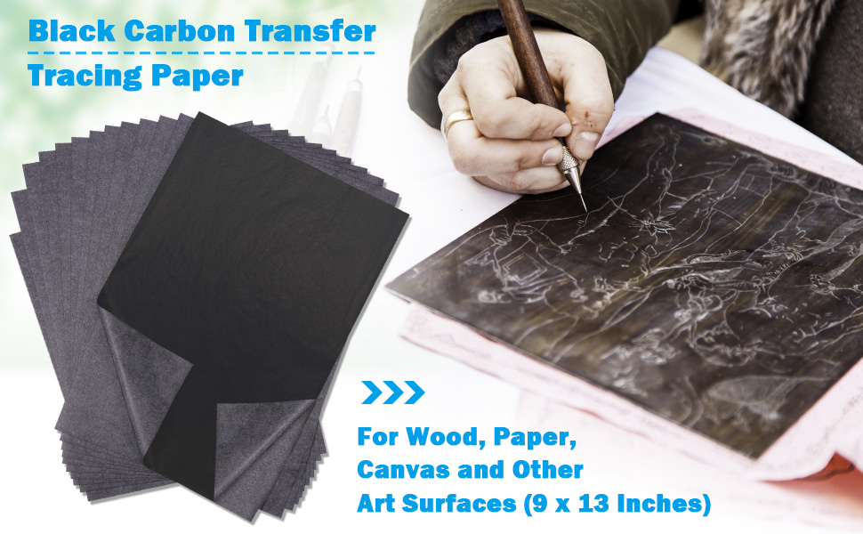 Gense A4 100 Sheets Black Carbon Transfer Tracing Paper for Wood Paper Copy Graphite Accessories Reusable Canvas and Other Art Surfaces