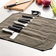 "Khaki Chefs Knife Roll Case, Waxed Canvas Cutlery Knives Holders Protectors, Home Kitchen Cooking Tools Wallet Holds Shears Tongs Length Up to 16.9"" ..."