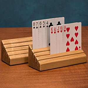 Wooden Playing Card Holder Oak w// Glossy Finish