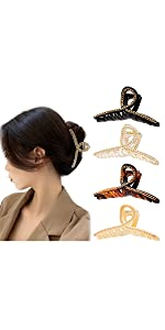 Hair Claw Clips With Gold Metal Braided Chain