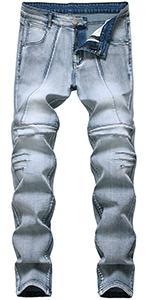 skinny slim fit jeans for men biker holes hip hop straight ripped distressed jogger moto denim pants