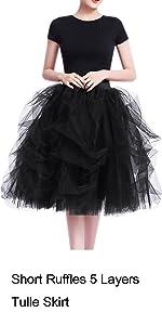 High Waist A-line Short Knee Length Ruffles Party Tulle Skirt