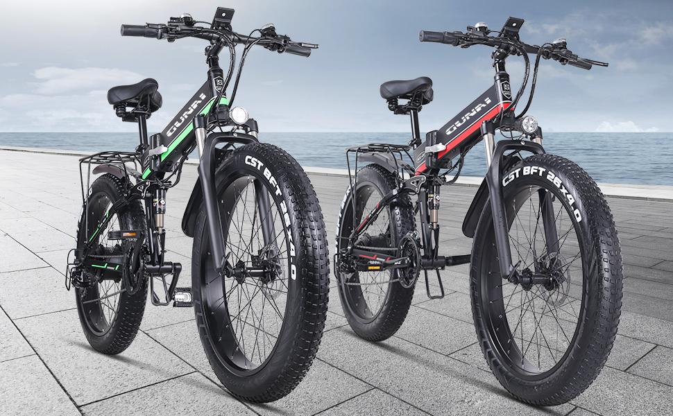 GUNAI Bicicleta eléctrica de 26 Pulgadas Fat Tire 1000W 48V Ebike 21 Speed Snow MTB Bicicleta eléctrica Plegable para Hombre Mujer: Amazon.es: Deportes y aire libre