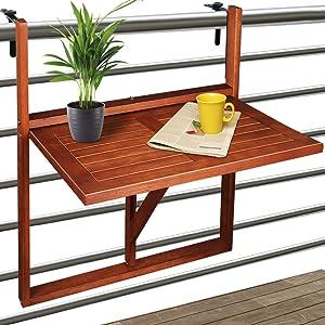 Deuba Table De Balcon Suspendue En Bois D Acacia Certifie Fsc Table De Balcon Rabattable 64x45x87cm Acacia Pliable Compacte Elegante