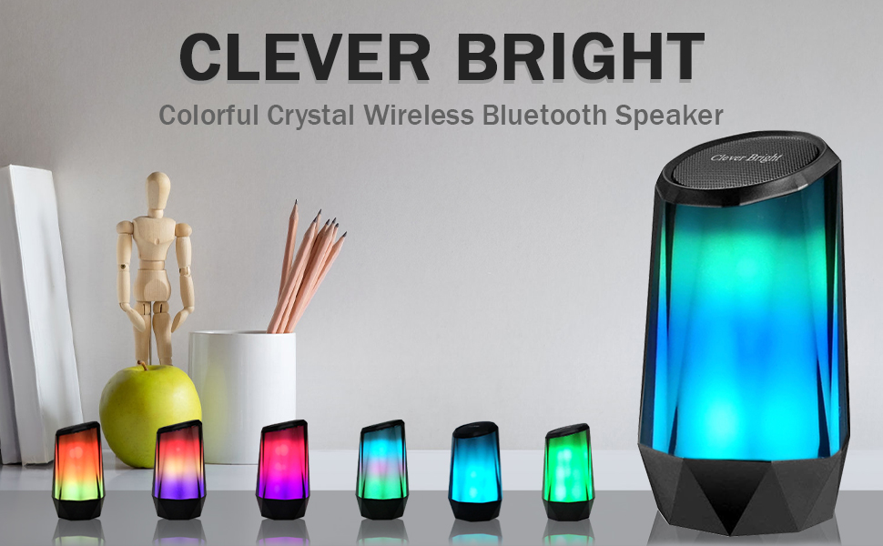 CLEVER BRIGHT Crystal Colorful Portable Wireless Bluetooth Speaker