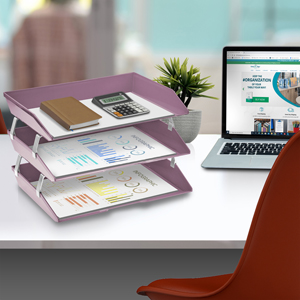 acrimet facility letter tray 3 tier side load solid purple color