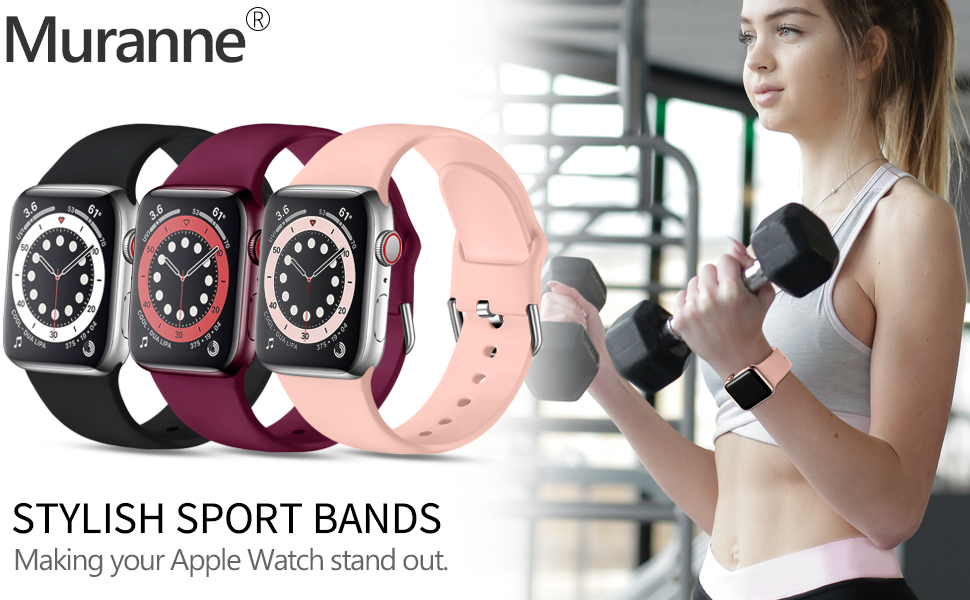 Muranne stylish sport bands are compatible with Apple Watch 38mm 40mm 42mm 44mm SE