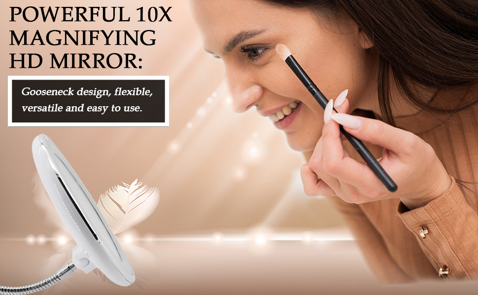lighted 10x magnifying makeup mirror