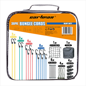 CARTMAN Bungee Cords Assortment 30 Piece in Carry Bag
