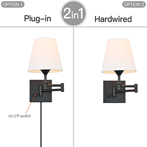 Wall Sconce Set of 2 with Plug in Cord and Switch for Bedroom