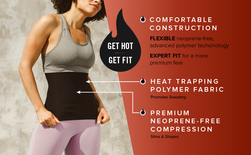Get hot get fit comfortable construction heat trapping polymer fabric premium neoprene-free