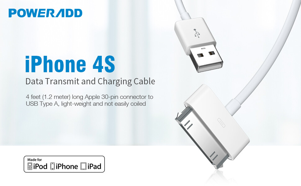 Apple Certified iPhone 4 4s 3G 3GS iPad iPod Touch Nano 30 Pin Charger USB Sync Cable Charging Cord