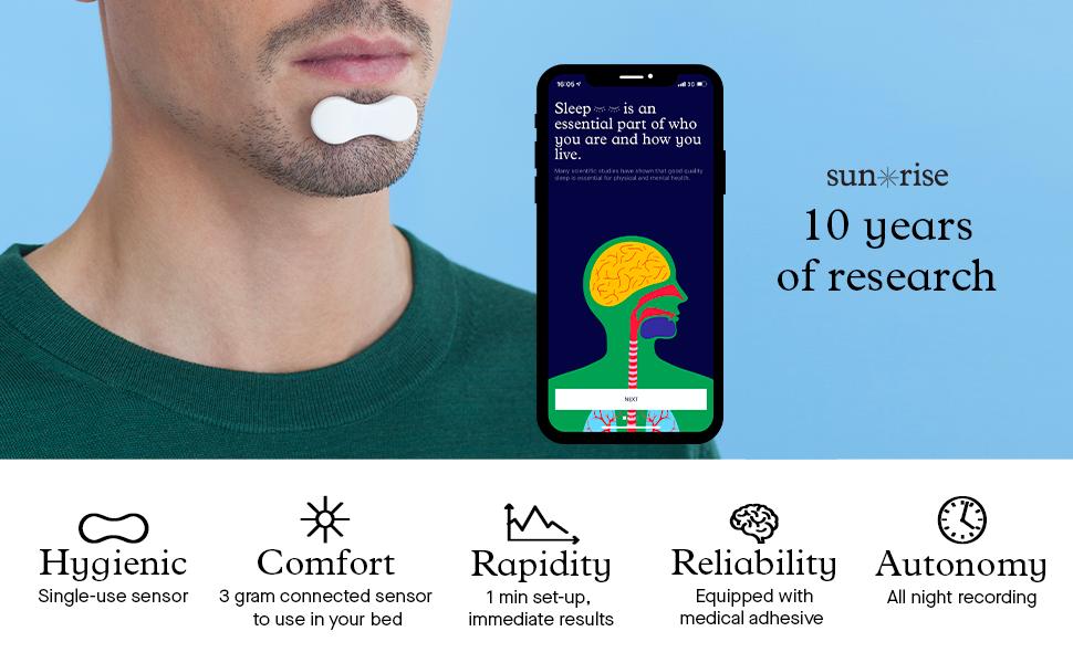 Sunrise - Sleep Apnea Diagnosis - Certified Clinical Test - Chin Sensor  with A Free App - Solo Offer: Amazon.co.uk: Health & Personal Care