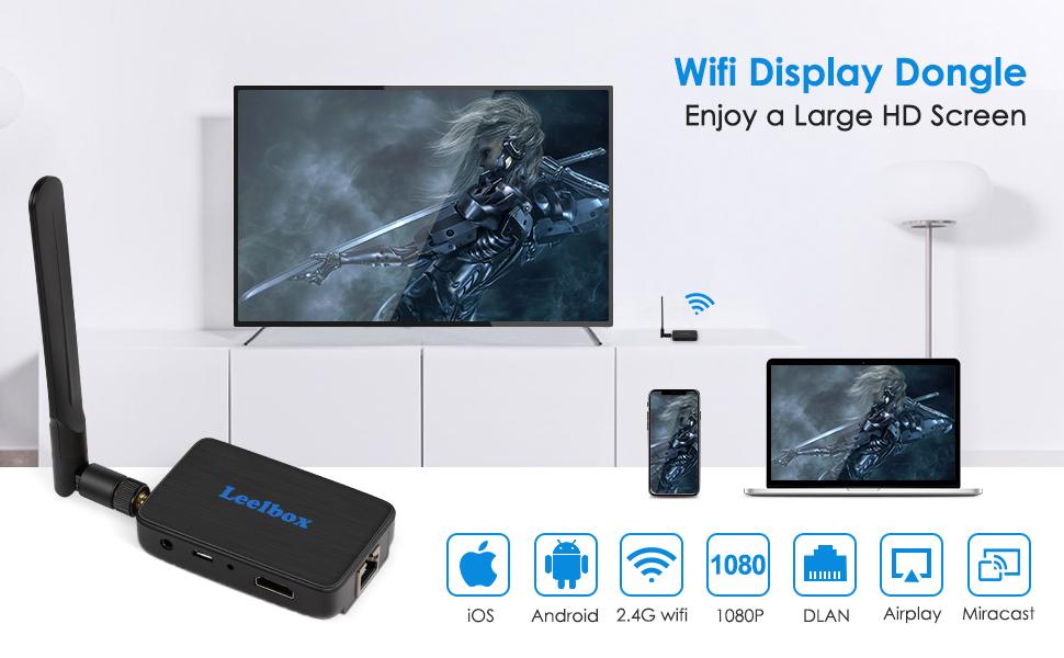 Leelbox Chromecast, WiFi Display Dongle, Adaptador de Receptor 4K 1080P HDMI Dongle Inalambrico con Pantalla WiFi 2.4G Miracast DLNA Airplay para ...