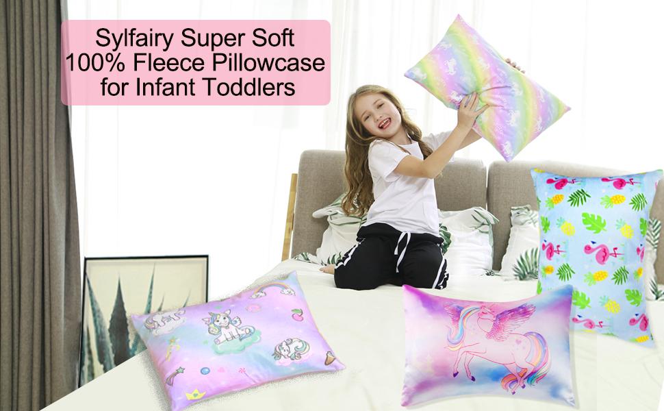 Fleece Pillow Case for Kids Unicorn Rainbow