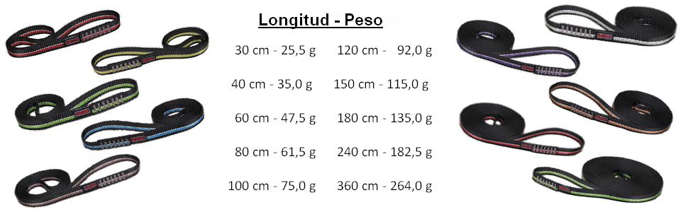 ALPIDEX Eslingas Escalada de Poliamida en Diferentes Longitudes 16 mm 22 kN