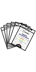 6 pack color magnetic dry erase sleeves dry erase pockets job ticket holders shop ticket holders